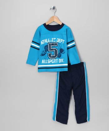 Blue 'Athletic Dept 5' Tee & Track Pants - Toddler