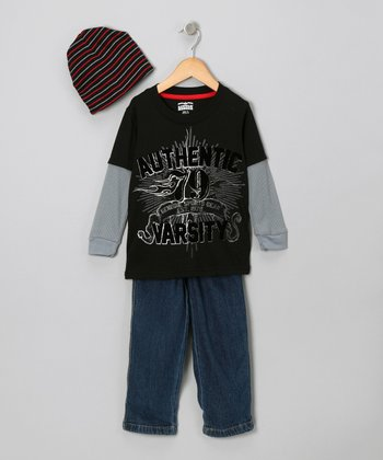 Black 'Authentic Varsity' Layered Tee Set - Infant