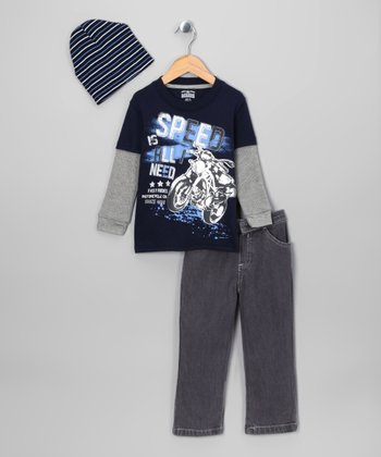 Navy 'Speed Is All I Need' Layered Tee Set - Infant