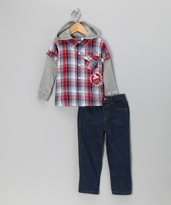 Red Plaid Layered Button-Up & Jeans - Infant