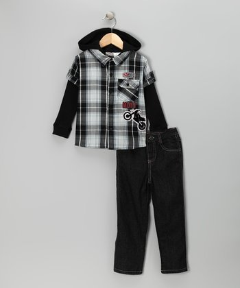 Black Plaid Layered Button-Up & Jeans - Infant