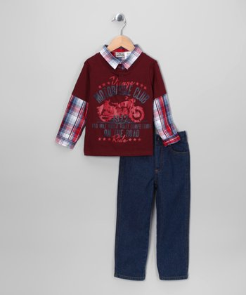 Maroon 'Motorcycle Club' Layered Henley & Jeans - Infant