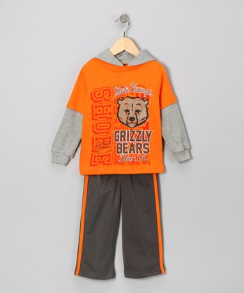 Orange 'Grizzly Bears' Layered Tee & Pants - Infant