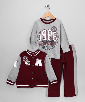Maroon 'Varsity' Jacket Set - Infant