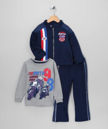 Navy 'Race' Jacket Set - Infant