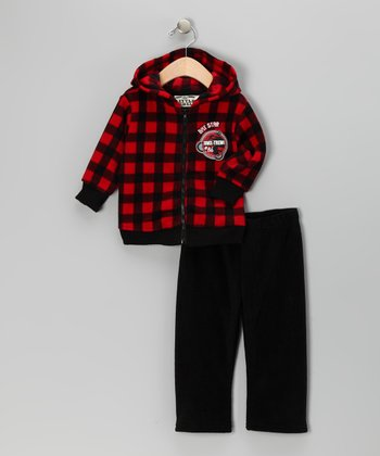 Red Plaid Fleece Zip-Up Hoodie & Pants - Infant