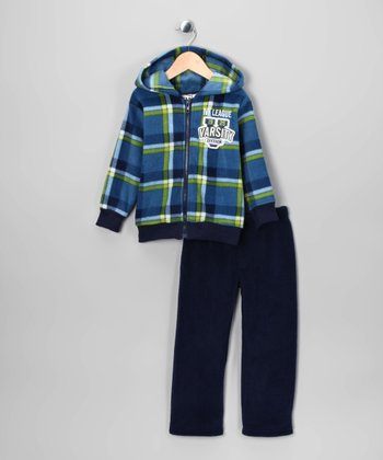 Blue 'Varsity' Fleece Zip-Up Hoodie & Pants - Infant & Toddler