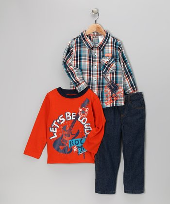 Navy 'Rock & Roll' Tee Set - Toddler