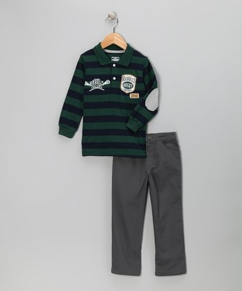 Green Stripe Polo & Pants - Toddler