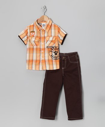 Orange & Brown Plaid Layered Button-Up & Pants - Toddler