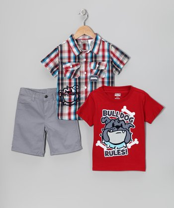 White & Red 'Bulldog Rules!' Shorts Set - Infant & Toddler