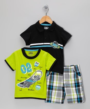 Black & Green Skateboard Shorts Set - Infant