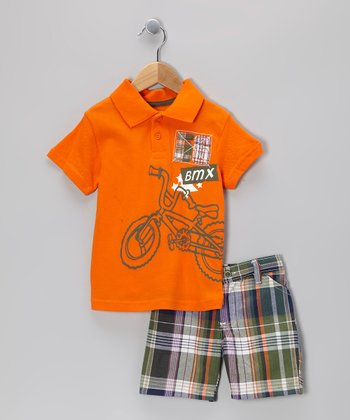 Orange Bicycle Polo & Shorts - Infant & Toddler