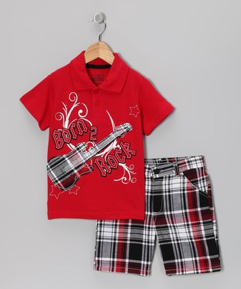 Red 'Born 2 Rock' Polo & Shorts - Infant & Toddler