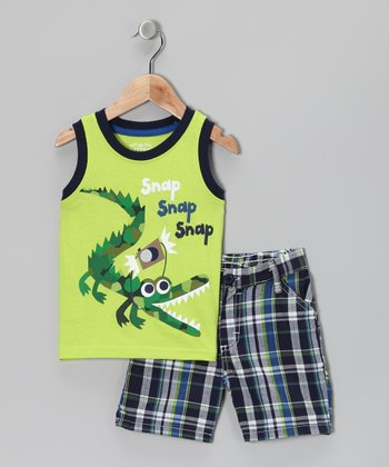Green 'Snap' Tank & Shorts - Infant