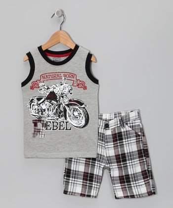 Little Rebels Gray 'Rebel' Tank & Shorts - Infant