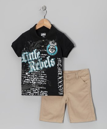 Black 'Little Rebels' Polo & Shorts - Boys