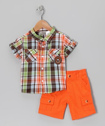 Green & Orange Plaid Button-Up & Cargo Shorts - Infant