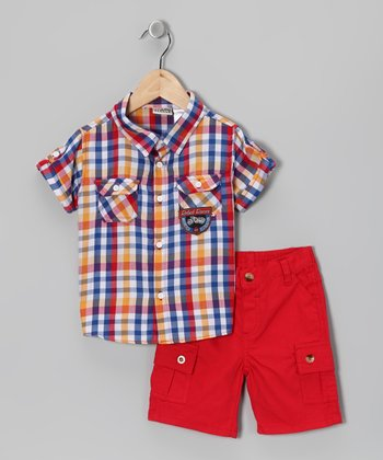 Red Plaid Button-Up & Cargo Shorts - Infant