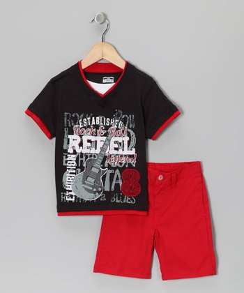 Black 'Rebel' Layered Tee & Shorts - Infant, Toddler & Boys