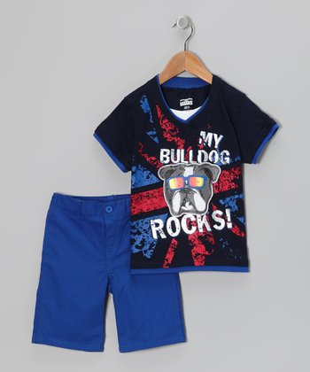 Little Rebels Navy 'My Bulldog' Layered Tee & Shorts - Infant