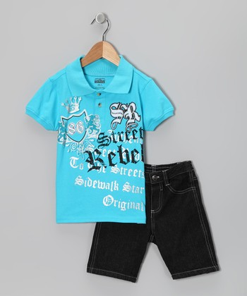 Blue 'Rebel' Polo & Black Denim Shorts - Infant & Toddler