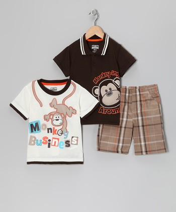 Brown 'Monkey Business' Shorts Set - Toddler