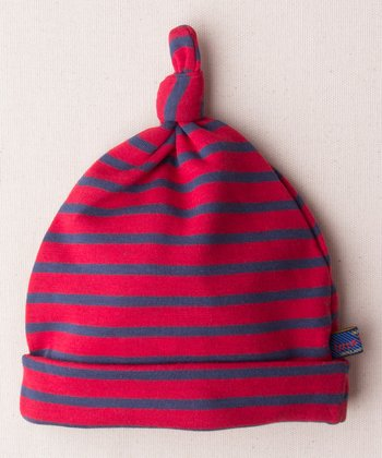 Red & Blue Stripe John Organic Single-Knot Beanie
