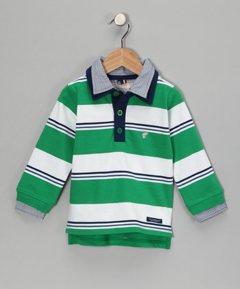 Green & White Stripe Lewis Organic Rugby Shirt - Boys