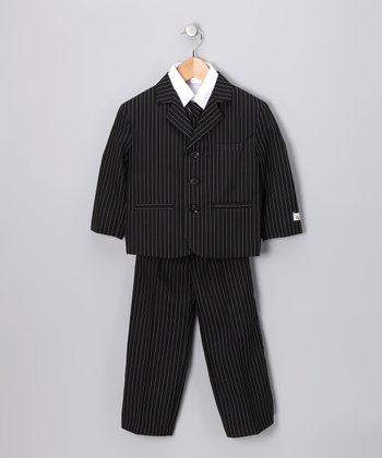 Black & White Pinstripe Suit Set - Toddler & Boys