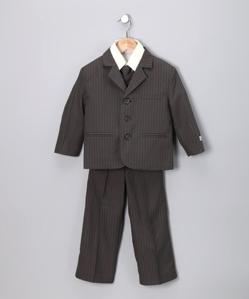 Little Stallion Olive & Mint Pinstripe Suit Set - Toddler & Boys