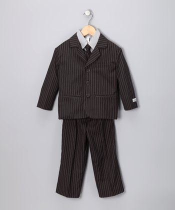 Little Stallion Gray & White Stripe Suit Set - Toddler & Boys