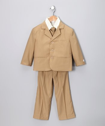 Little Stallion Taupe & Beige Stripe Suit Set - Toddler & Boys