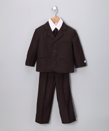 Little Stallion Black & Pink Stripe Suit Set - Toddler & Boys