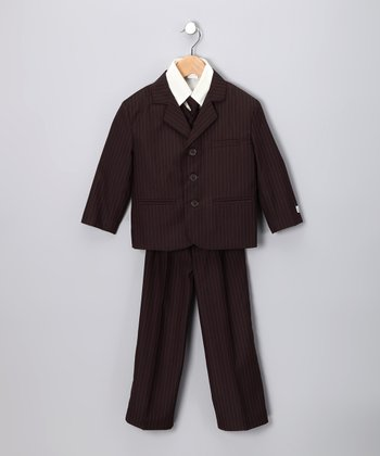 Little Stallion Brown Stripe Suit Set - Toddler & Boys