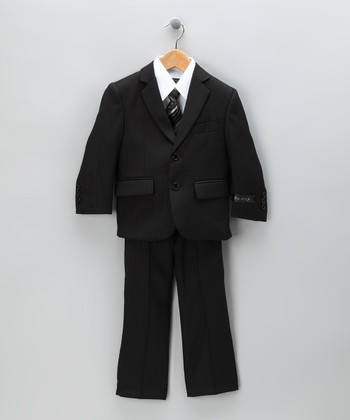 Black Pinstripe Five-Piece Suit Set - Toddler & Boys