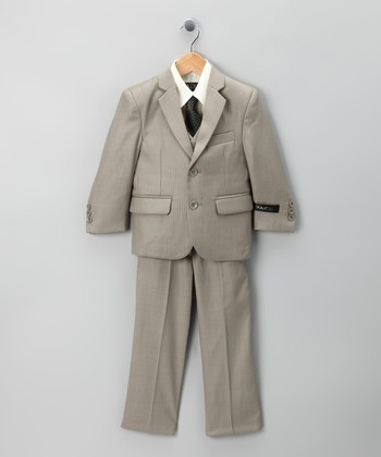 Dark Tan Five-Piece Suit Set - Toddler & Boys