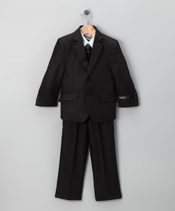 Black Herringbone Five-Piece Suit Set - Toddler & Boys