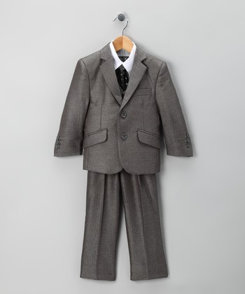 Gray Herringbone Tazio Five-Piece Suit Set - Toddler & Boys