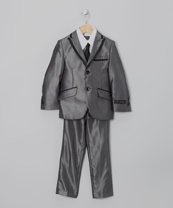 Charcoal Contrast Suit Set - Toddler & Boys