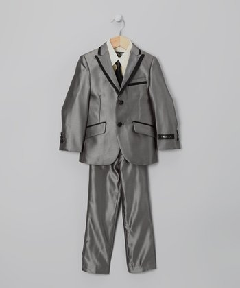 Charcoal Piping Five-Piece Suit Set - Toddler & Boys