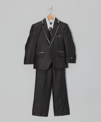 Black Piping Five-Piece Suit Set - Boys