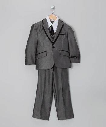 Gray Contrast Piping Five-Piece Suit Set - Toddler & Boys