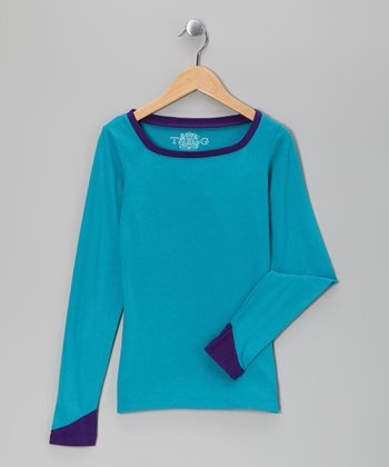 Lake Blue & Petunia Square Neck Tee - Girls