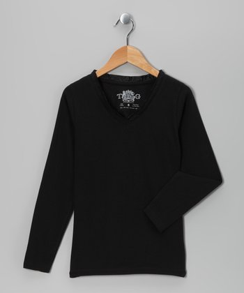 Black Satin Long-Sleeve V-Neck Tee - Girls