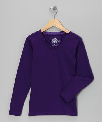 Petunia Satin Long-Sleeve V-Neck Tee - Girls