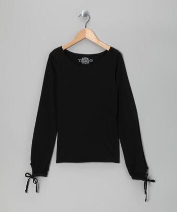 Black Boatneck Tee - Girls