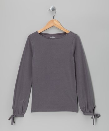 Light Gray Boatneck Tee - Girls
