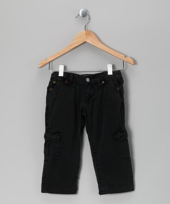 Black Cargo Capri Pants - Girls