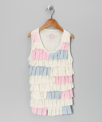 White & Pink Petal Tank - Girls